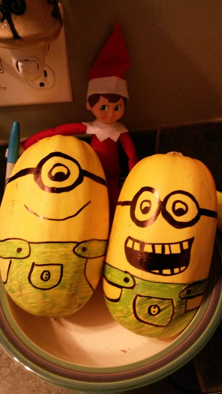 Elf decorated the spaghetti squash into Minions. Elf on the Shelf.