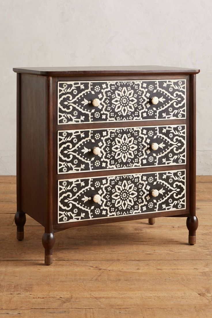 "Tapestry Inlay Three-Drawer Dresser  34"" x 35"" x 20""   There's a matching headboard, too!"