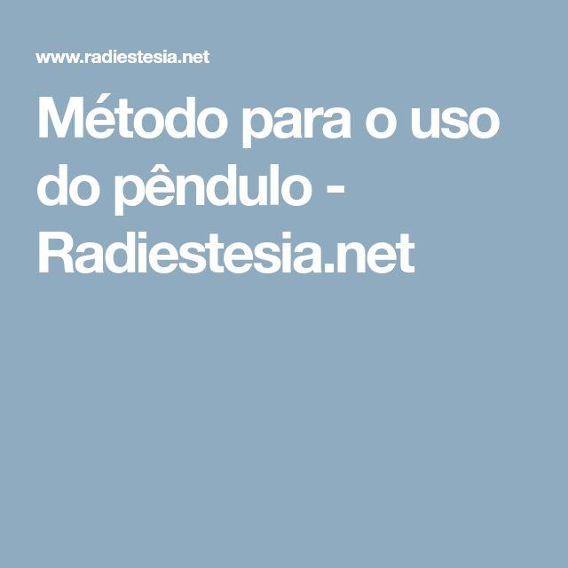Método para o uso do pêndulo - Radiestesia.net