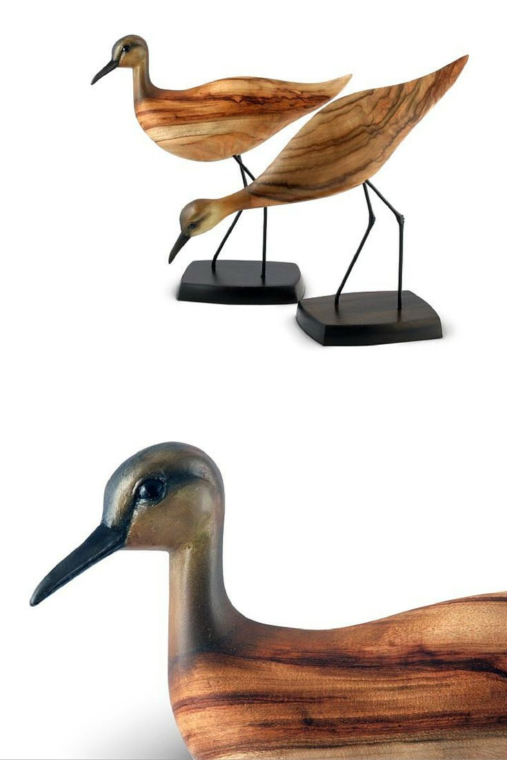 Captured here in its characteristic poses, the Sandpiper can be seen in a feeding position with a lowered head, and also its raised head pose. The body is crafted from sustainable Camphor Laurel and the head from resin and hand painted.