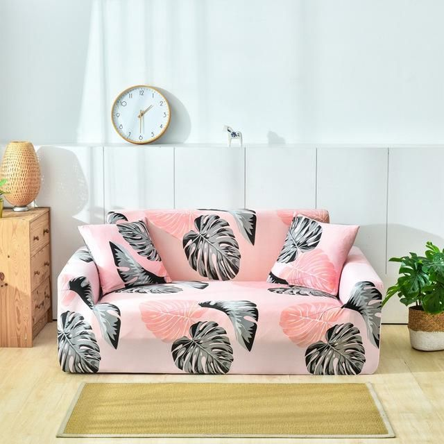 Stretchy Slipcovers Pink Monstera Print In 2020 Corner Sectional Sofa Sofa Covers Couch Covers
