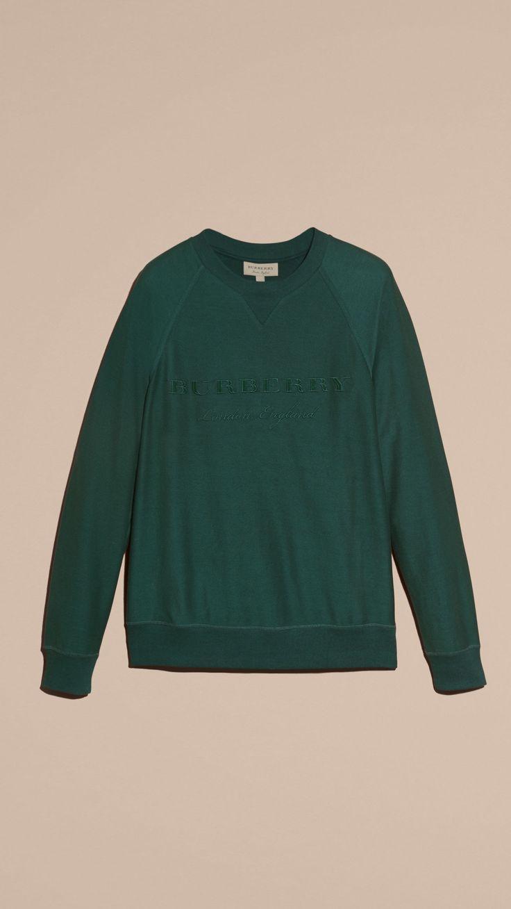 Embroidered Motif Cotton-blend Jersey Sweatshirt Deep Teal | Burberry