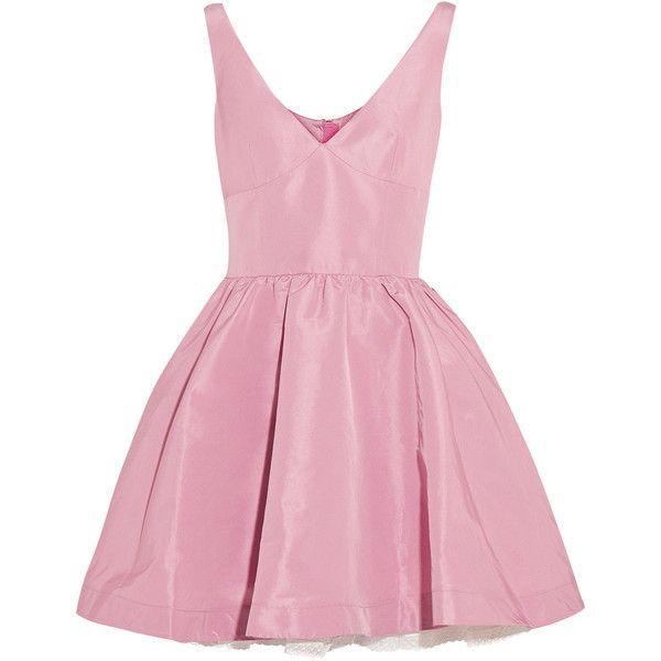 REDValentino Satin-twill mini dress ($495) ❤ liked on Polyvore featuring dresses, vestidos, short dresses, robe, baby pink, pleated mini dress, short pink dress, pink satin dress, satin dress and short fitted dresses