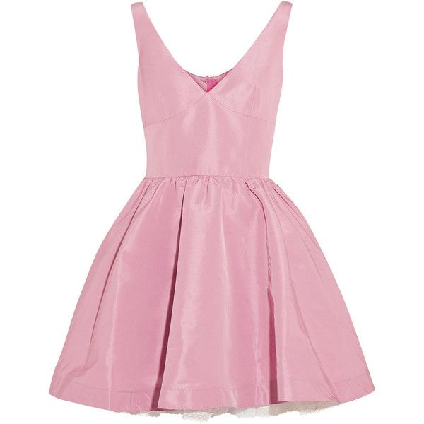 REDValentino Satin-twill mini dress (£339) ❤ liked on Polyvore featuring dresses, vestidos, short dresses, robe, baby pink, satin dress, fitted cocktail dresses, short fitted dresses and satin cocktail dress