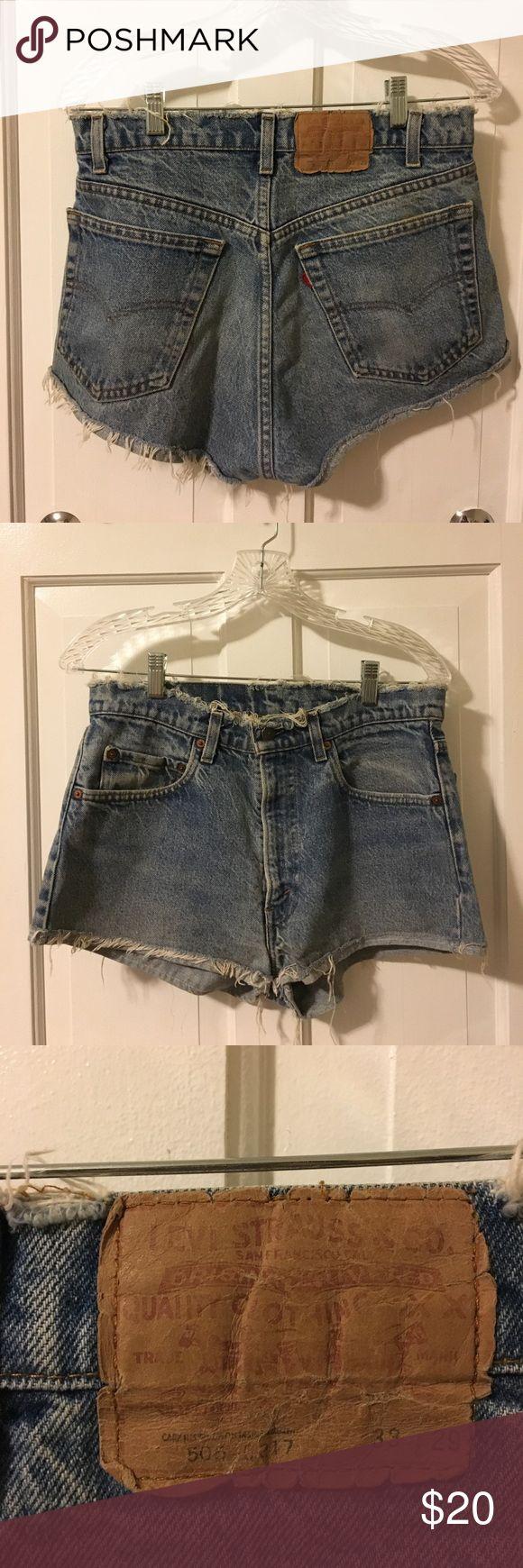 Levi cutoff jean shorts Light wash cutoff Levi jean shorts size 29, lightly worn Levi's Shorts Jean Shorts