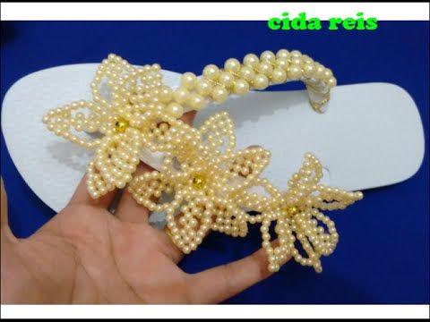 Chinelo com flor de pérolas simples muito lindo - YouTube