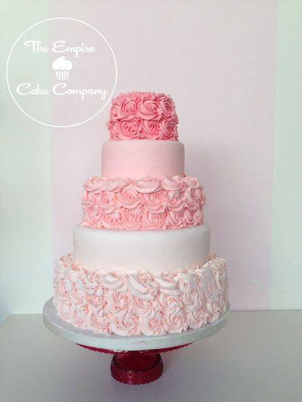 Pink ombre rose buttercream wedding cake