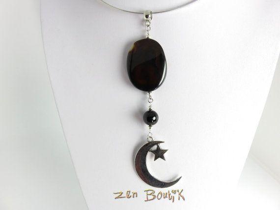Collier Agate Druse Lune Etoile Collier Agate Pierre par ZenBoutik