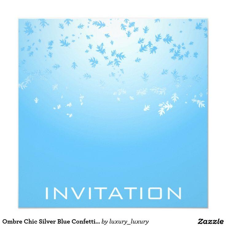 Ombre Chic Silver Blue Confetti Leafs 13 Cm X 13 Cm Square Invitation Card