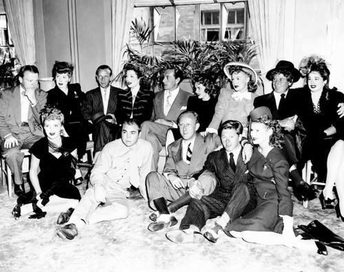 Lucille Ball, James Cagney, Fred Astaire, Greer Garson, Paul Henreid, Judy Garland, Betty Hutton, Harpo Marx, Ruth Brady, Kay Kyser, and Mickey Rooney.
