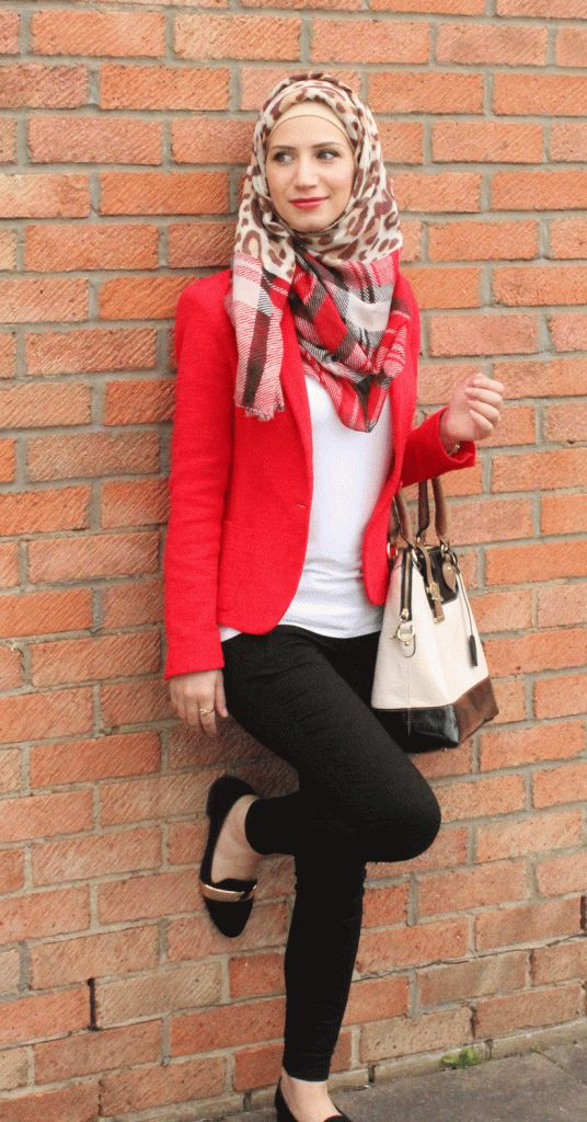 #Coral #blazer and printed #hijab scarf. I would swap out the pants for a loose maxi skirt to make it hijab appropriate.
