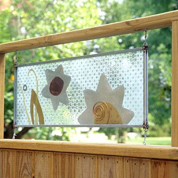 Like this unique idea & this art design. DIY privacy pannels instructions. Fashion Fence Art glass privacy panels