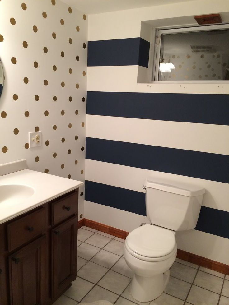 navy stripes + gold polka dots - easy bathroom transformation