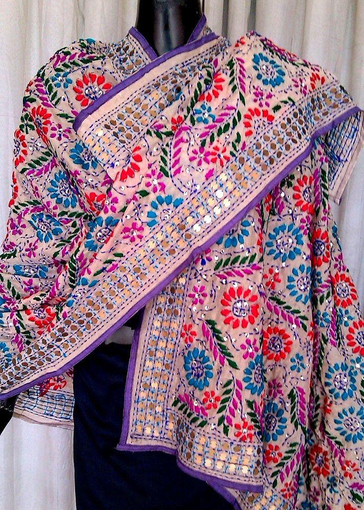 Phulkari Dupatta on Chanderi Fabric - Light Gray