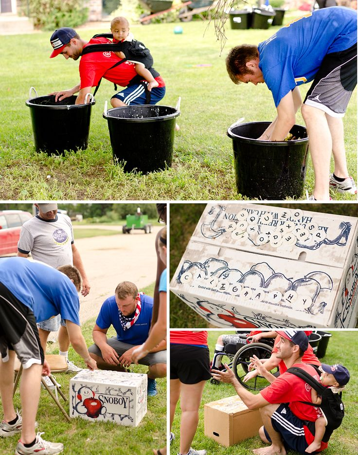 Adults and kids compete in a variety of backyard games including water balloon relays, jumbo beer pong, slosh ball, dodge ball, wheelbarrow races and more!