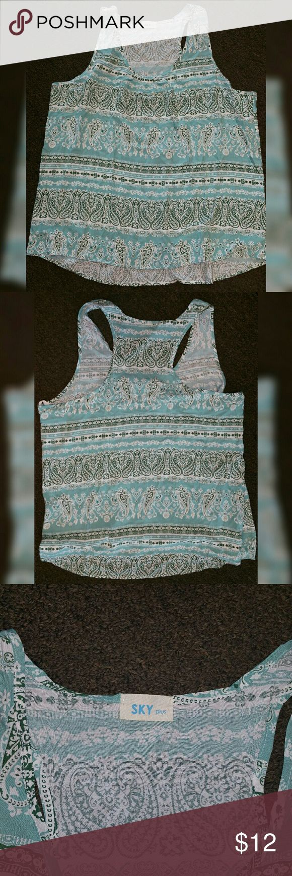 Blue Green and white racer back tank Flowy and light for summer, perfect in the heat. Never worn. Sky Plus Tops Tank Tops