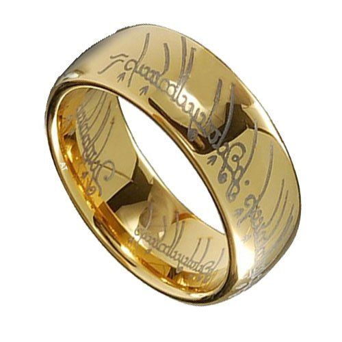 lotr gold plated tungsten carbide lord of the ring width 6mm 8mm band ring size