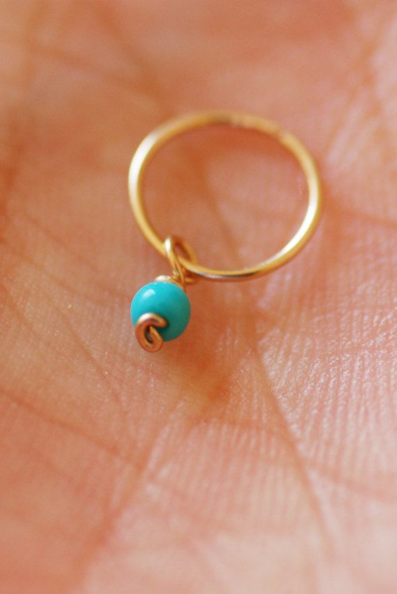 tiny hoop earring turquoise hoop small cartilage earring. Black Bedroom Furniture Sets. Home Design Ideas
