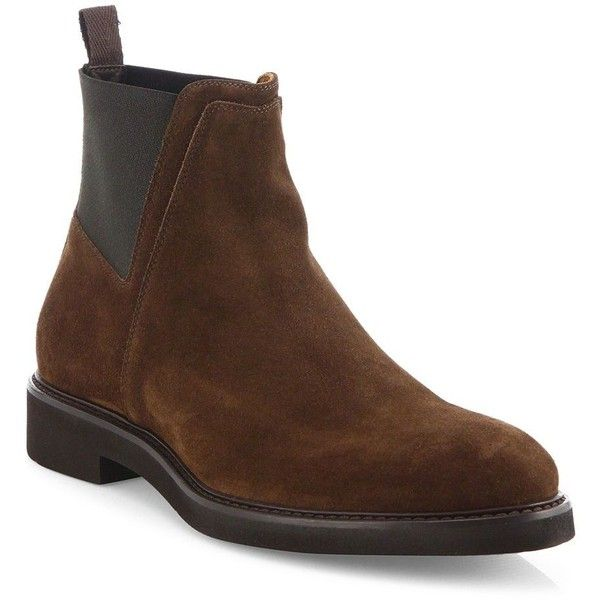 Aquatalia Weatherproof Leather Chelsea Boots : Aquatalia Shoes (665 CAD) ❤ liked on Polyvore featuring men's fashion, men's shoes, men's boots, apparel & accessories, brown, mens leather shoes, mens brown shoes, mens brown slip on shoes, mens slip on boots and mens brown leather boots