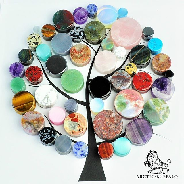 SALE!  Take 20% off your entire order website order with discount code: WINTERSAVINGS20                                      A collection of just some of our many varieties of stone ear plugs and gauging jewelry.