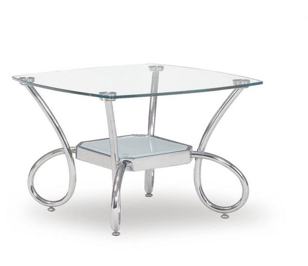 T559 Series Modern Silver Glass Metal End Table