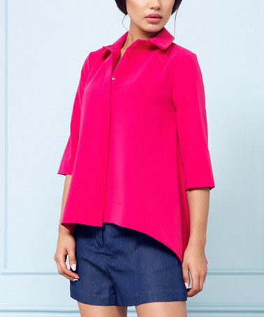 Look at this #zulilyfind! Pink Button-Up Swing Top #zulilyfinds