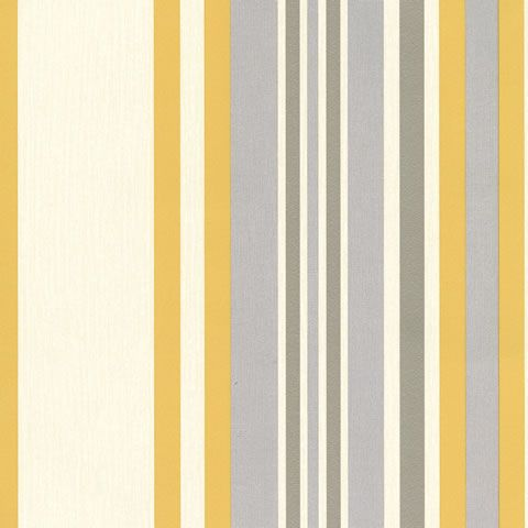 Yellow and grey striped wallpaper. http://www.worldstores.co.uk/p/Muriva_Millie_Stripe_Yellow_Wallpaper_150gsm.htm