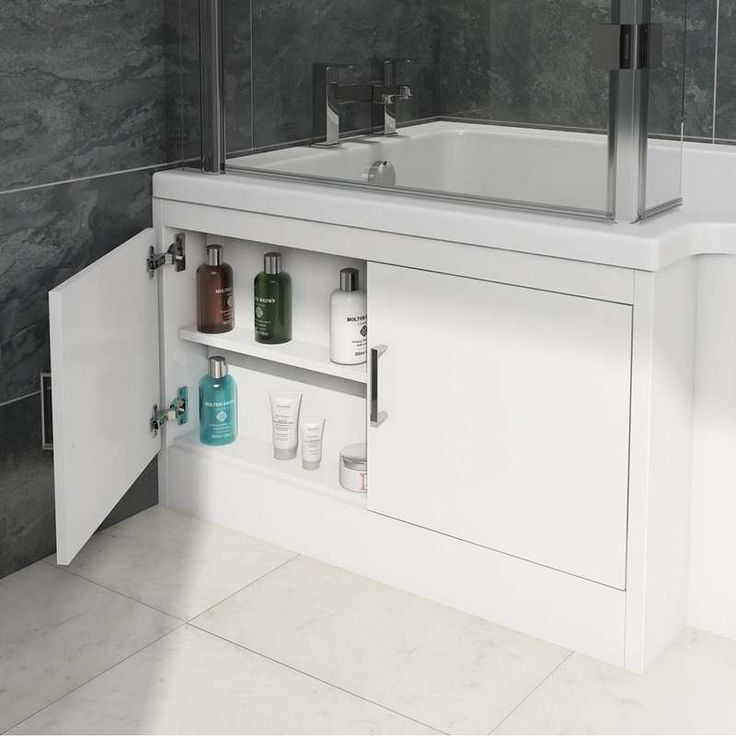 MySpace water saving left handed L shaped shower bath with storage panel