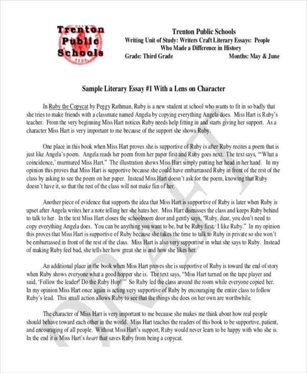 Literary Essay Example Literary Essay Essay Essay Examples