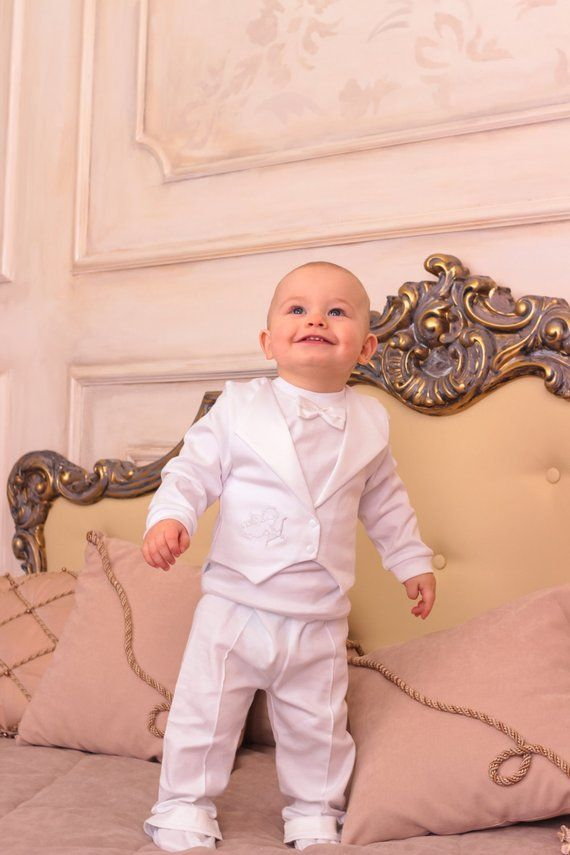 ea879ac88 Baby boy baptism outfit christening cotton suit 3-piece set
