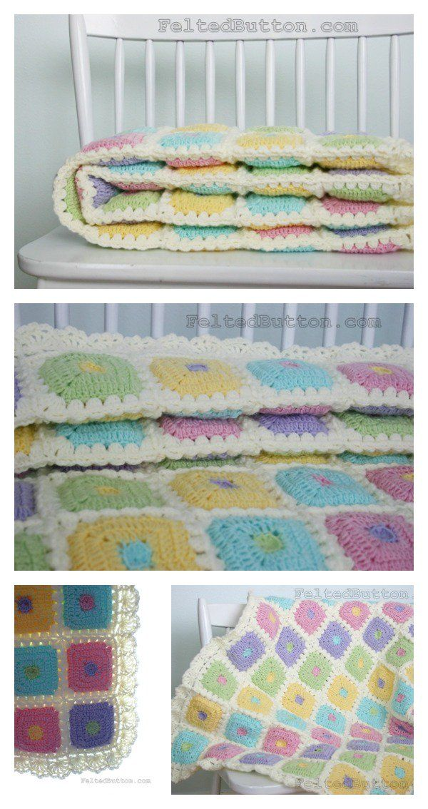 Colorful Puffy Patch Baby Blanket Crochet Pattern Crochet