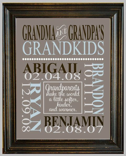Personalized GRANDPARENT PRINT - with Grandchildren's Names and Birthdates - Completely Customizable - Christmas Gift - Anniversary Gift.