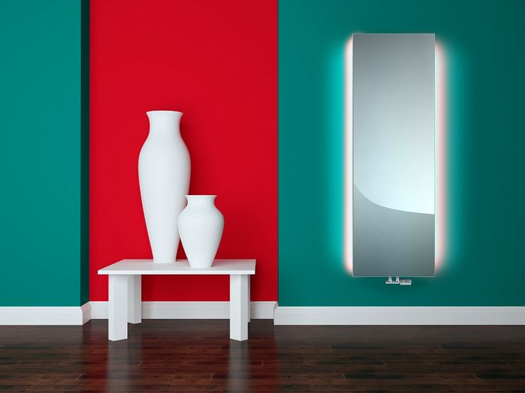 Velvet Mirror LED: Design mirror radiator with LED lights. Luxury room radiator. Real Bath Mirror radiator. Stylish towel radiator. Glass radiators create a sense of airy space. Central heating radiator. Available with chrome towel rail. Delivery: 6 weeks.