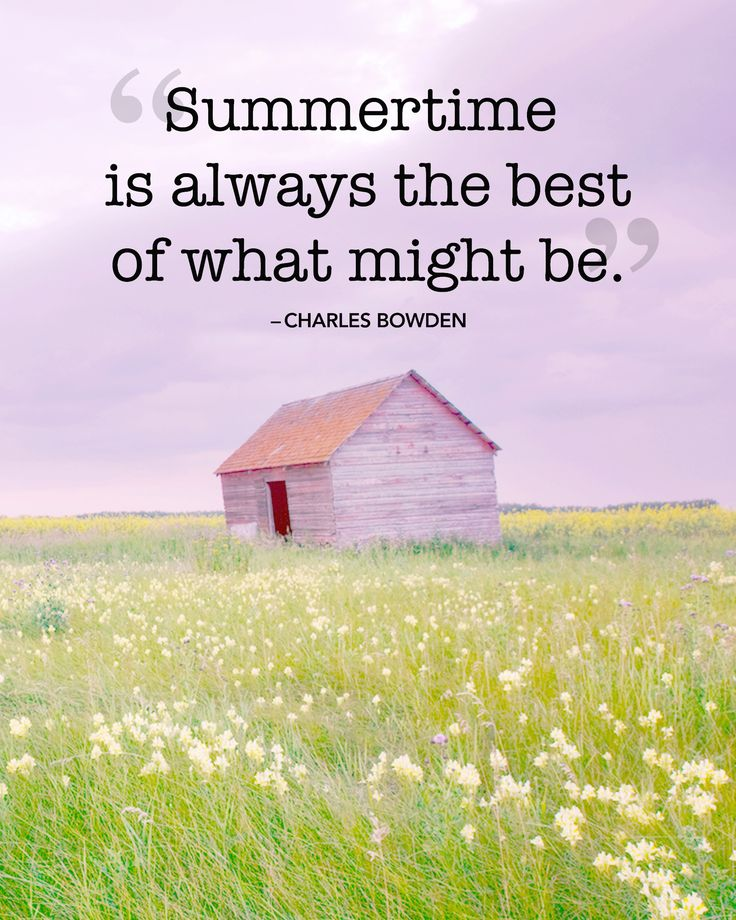 "Inspirational quotes and sayings about summer: ""Summertime is always the best of what might be."" — Charles Bowden"