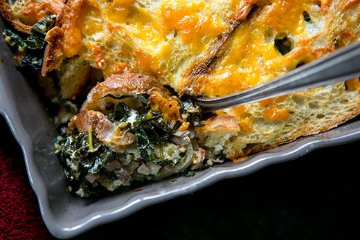 Kale, Mushroom, and Cheddar Cheese Bake - http://www.cheesecutterscorner.com/kale-mushroom-and-cheddar-cheese-bake/