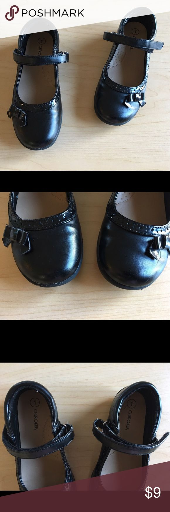Black Mary Jane Girls Shoes Size 1 Black Mary Jane girls shoes size 1.  By Cherokee.  Straps have Velcro latching across.  Excellent condition with no scuff marks!  Worn only twice! Great for any dress and special occasions!  A must have in any little girls closet! Shoes Dress Shoes