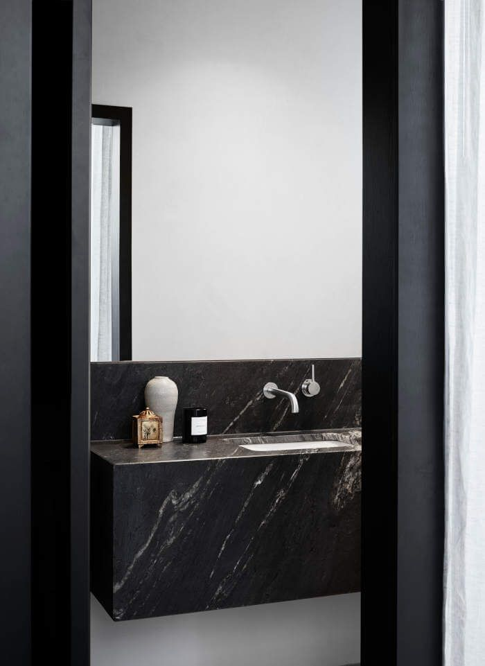 Modern Style Powder Room With Black Marble Floating Vanity And