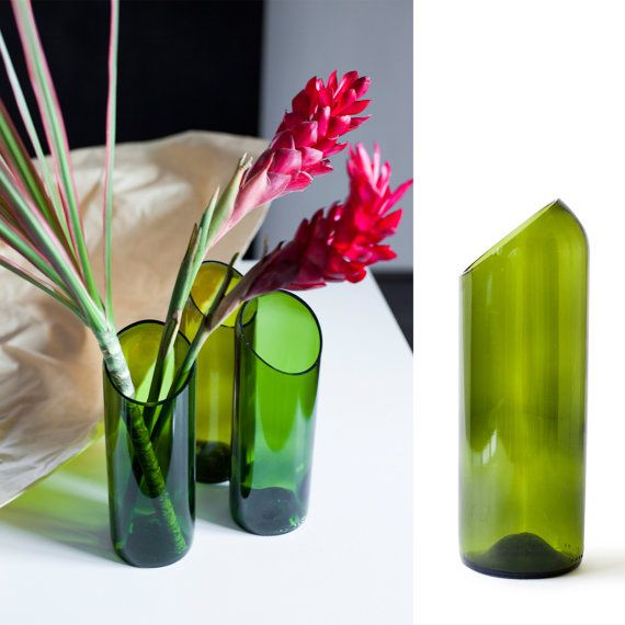 Recycled wine bottle vase by ekodizajn, flower pot, ecodesign, recycled glass.