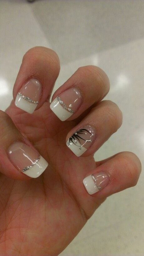 white tips with design nails