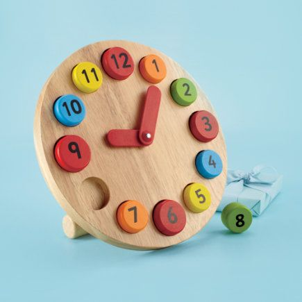 Kids Educational Toys: Kids Learning to Tell Time Clock - Wooden Teaching Clock - can make it out if felt for quiet book...