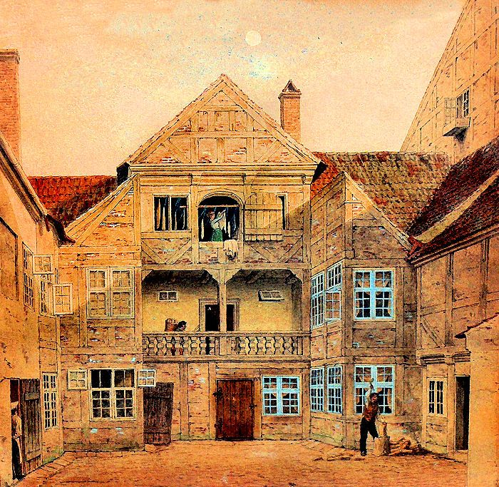 Den collinske gård i Bredgade København. Gårdinteriør. Farvelagt tegning af Heinrich Hansen 1850