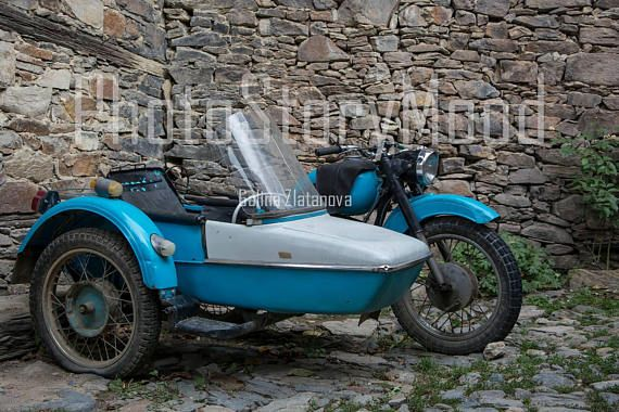Old motorcycle Home Decoration Antique Motorcycle with Sidecar blue and white Motorcycle photography stone wall retro instant download