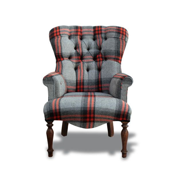 Red Amp Grey Wool Tartan Small Tub Chair Decorexi Co Uk