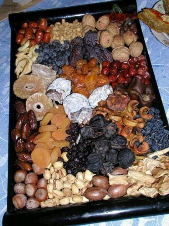 Yalda or Norouz dried fruits and nuts