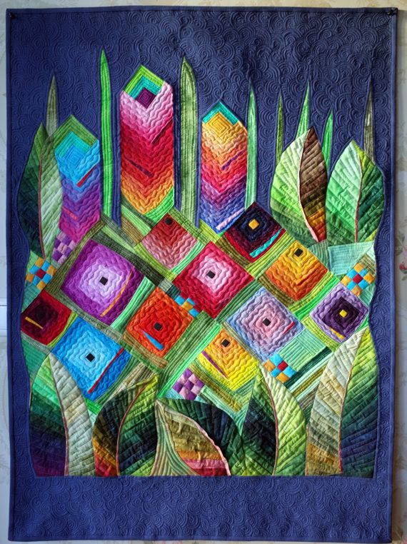 Art  quilt abstract quilt wall hanging Rainbow by marytequilts