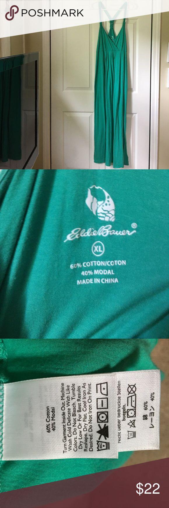Eddie Bauer cotton/modal maxi dress sz XL Beautiful color teal size XL Eddie Bauer halter maxi dress.  Worn once.  Perfect condition. Beach time!!! Eddie Bauer Dresses Maxi