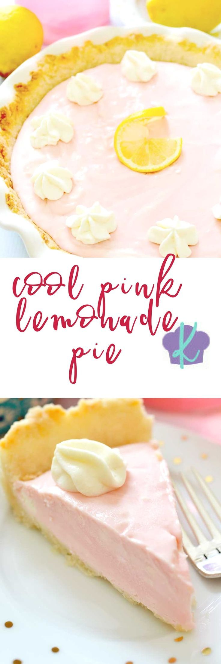 Cool Pink Lemonade Pie is just perfect for those hot summer days.  This creamy treat combines pink lemonade concentrate, cream cheese, sweetened condensed milk, and Cool Whip for a perfectly tart and fluffy pie.  You'll feel like a kid at a lemonade stand - only you'll be using a fork, not a straw! | pie recipes | summer pie recipes | how to make pink lemonade pie | summer desserts | summer dessert recipes || Kitchen Meets Girl
