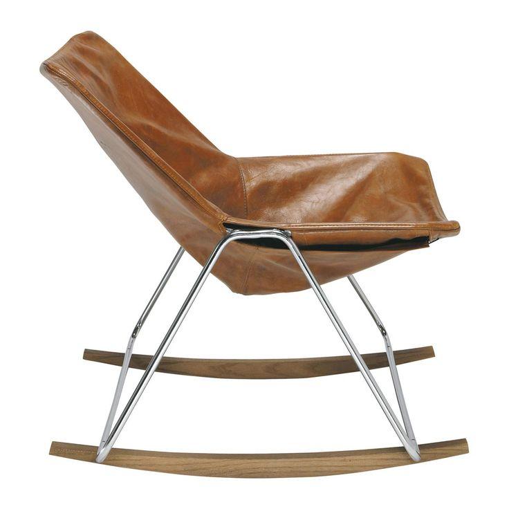 Cognackleurige leren schommelstoel G1