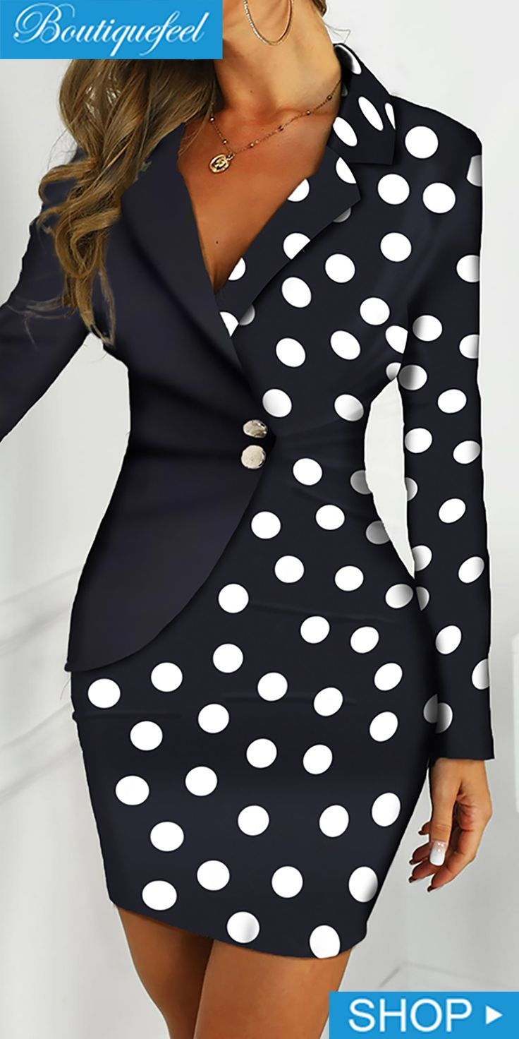 Dot Print Colorblock Insert Blazer Dress – #Blazer #Colorblock #Dot #dress #Inse…