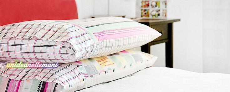 Tutorial con foto e spiegazioni per imparare come cucire una federa per cuscino da letto con chiusura a busta, balza decorativa e cuciture nascoste.